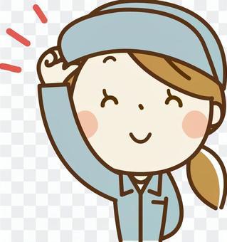 戴著帽子女人的工作服
