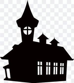 Halloween Silhouette Western-style building