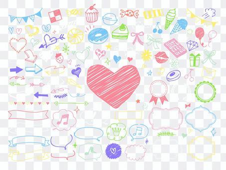 粉筆風格的糖果圖標和裝飾套