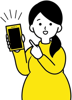 Pregnant woman who introduces a convenient application Yellow