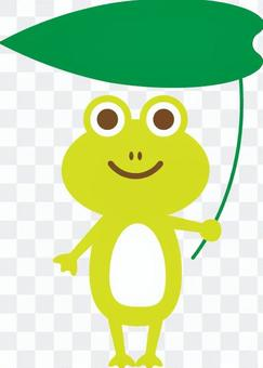 Frog with a leaf umbrella Yellow-green