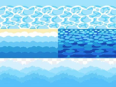 Water surface, coast, wave horizontal pattern 4 types set
