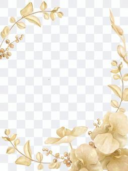 Gold botanical background vertical composition