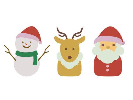 雪人、馴鹿和聖誕老人的插圖