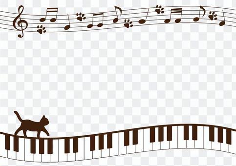 鍵盤和貓的框架
