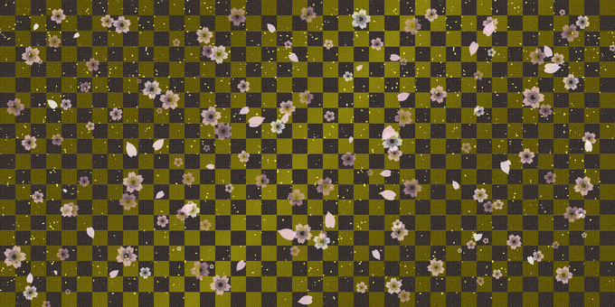 Checkered pattern with falling cherry blossoms