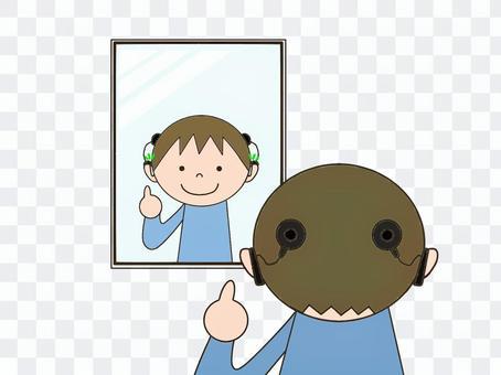 照鏡子的男孩