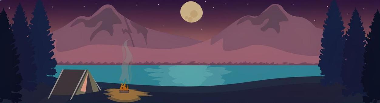 滿月和夜晚營地查看橫幅