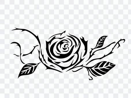 モノクロアート トライバル 薔薇