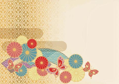 和風お花背景 蝶