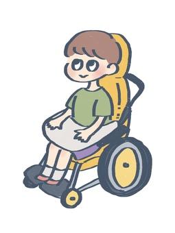 坐在輪椅上的孩子