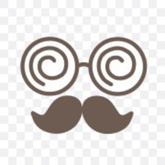 眼鏡圓圓的鬍鬚偽裝簡單