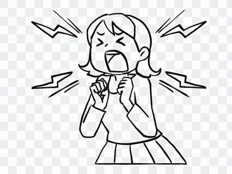 [黑白]尖叫的女人[線條藝術]