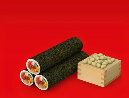 Setsubun Eega Roll and Fukuyan Red Background 02