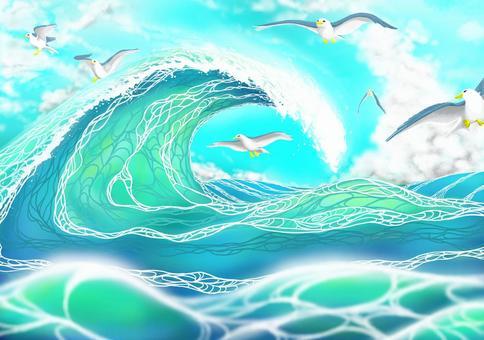 海鷗和海浪