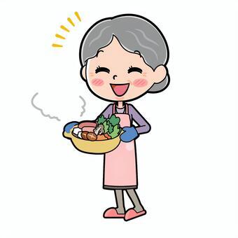 Senior women purple cooking pot