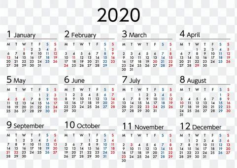 2020年カレンダー月曜始まりA4横長