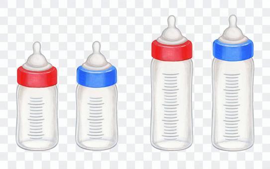 空的嬰兒奶瓶大大小小的