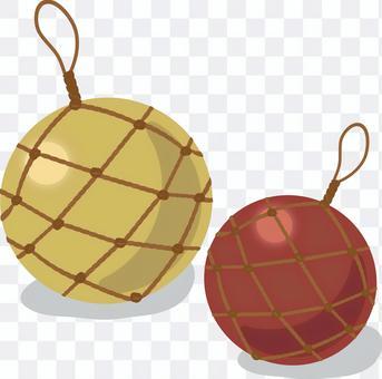 Ryukyu glass ball yellow-red system