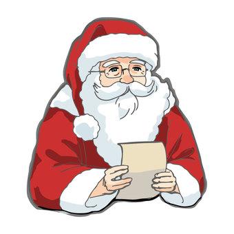 聖誕老人閱讀聖誕節兒童的信件