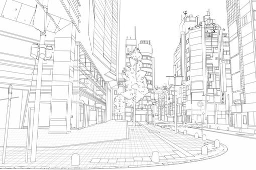 Urban corner line drawing
