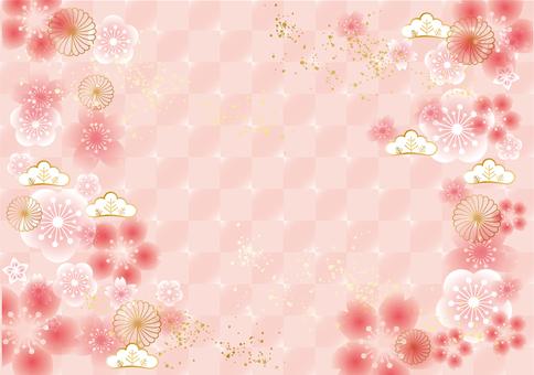 時尚的日式背景,格子圖案和梅花和櫻花
