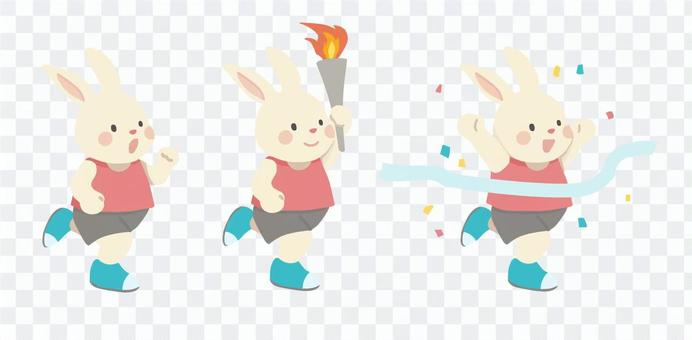 走るウサギ