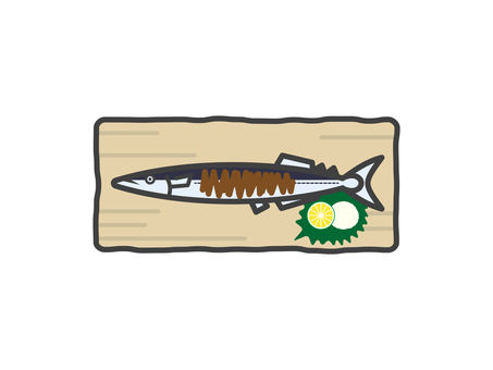 Illustration of Pacific saury (grilled fish)