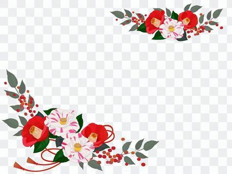 新年紅色和白色山茶花框架