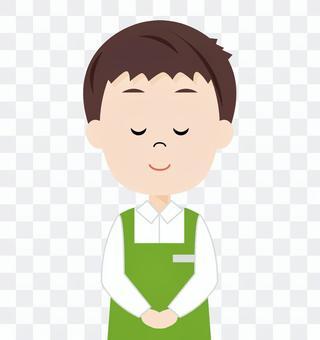 男性超市業務員(打招呼)