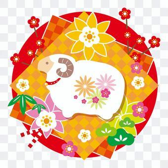 春天的綿羊(紅色背景)