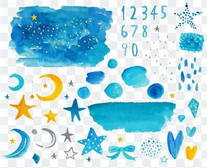 星月夜空水彩材料套裝