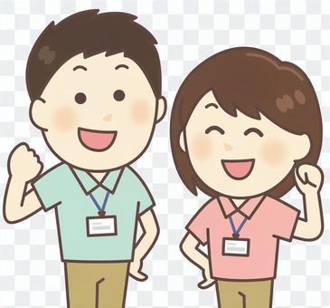Polo衫工作人員男女(淺藍色/粉紅色)