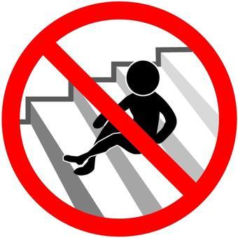 """""""禁止在樓梯上靜坐""""圖標"""