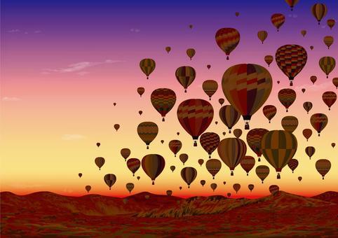 在黃昏的高原氣球