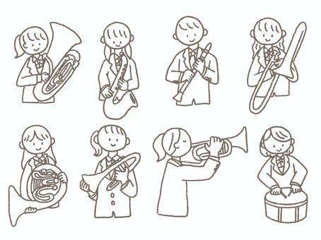 吹奏楽部 楽器を持つ学生セット