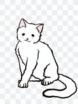 猫 白猫 全身 イラスト