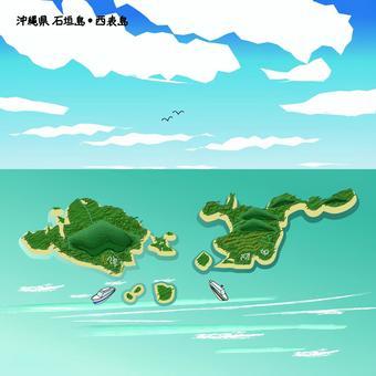 石垣島 沖縄県 島 海 上空