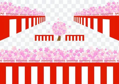 紅色和白色的窗簾和櫻花