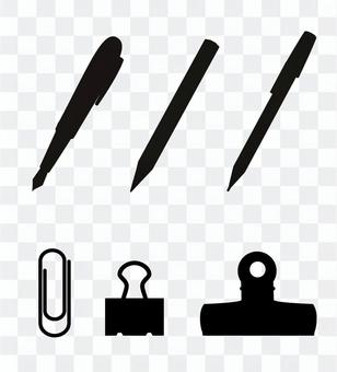 Writing utensils and clips (silhouette)