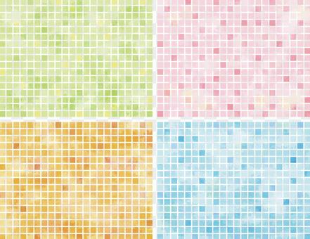 Tile-like material with watercolor touch