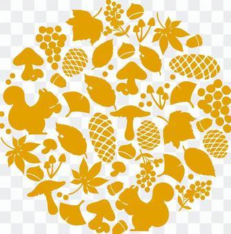 秋天的輪廓圓形圖案