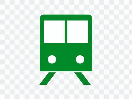 火車象剪影綠色