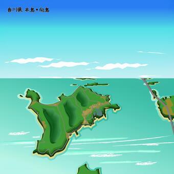 香川縣本島武庫島島海上