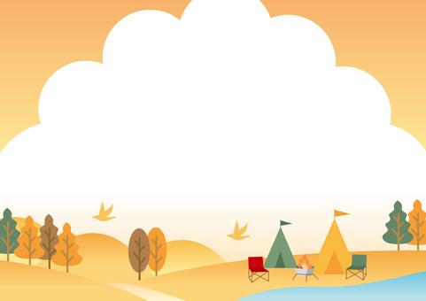 Camp autumn landscape background frame