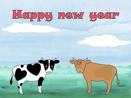 年賀状用牛のイラスト