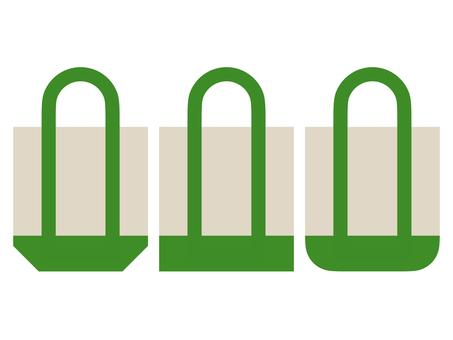 Flat eco bag icon set C: green
