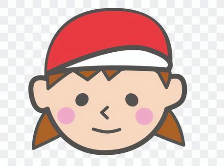 戴紅色帽子的運動會女孩