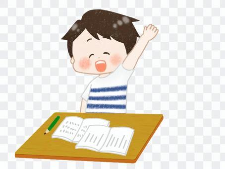 Boy raising hands in class