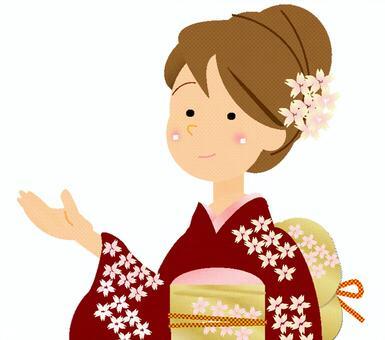 日本服裝的女性②葡萄酒
